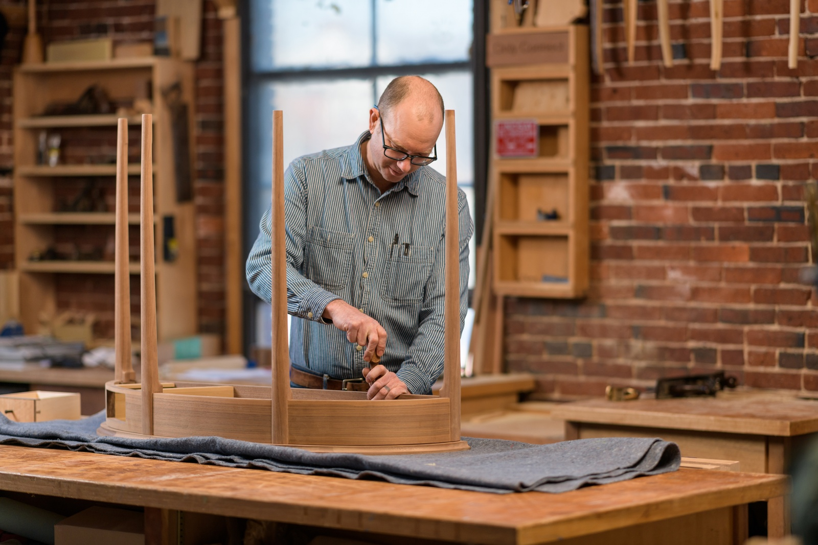 Furniture Master Owain Harris in his studio