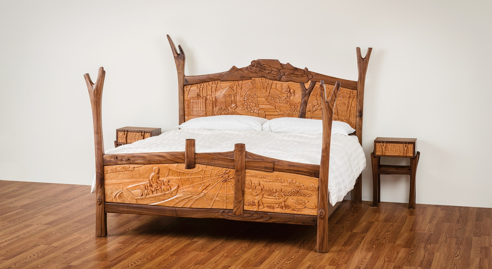 Custom, handmade bed created by Jeffrey Cooper