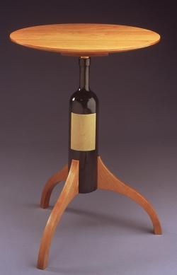handmade custom Wine Bottle Table by furniture master Duncan Gowdy