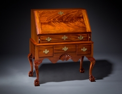 handmade custom newport desk by furniture master Jeffrey Roberts