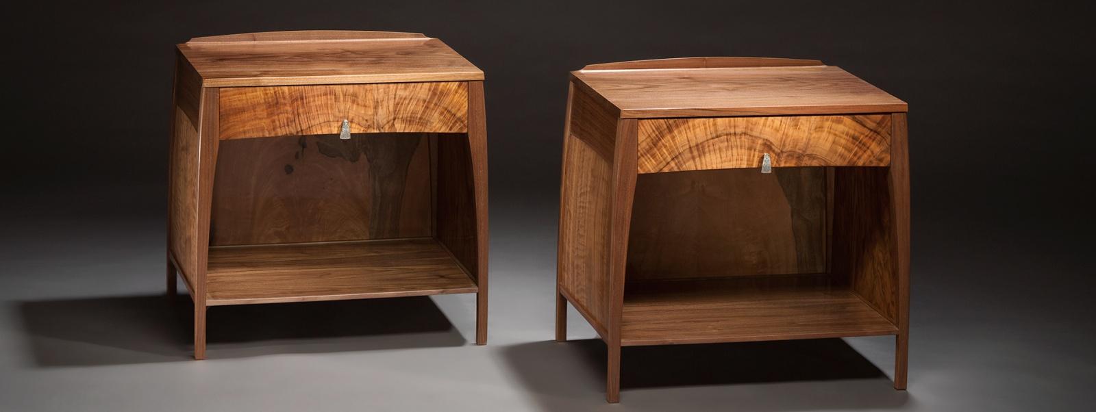 Custom handmade night stands created by furniture master John Cameron