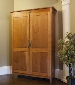 custom handmade cherry armoire by furniture master Roger Myers