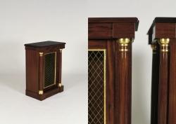 Close ups of a custom handmade book cabinet created by Thomas Walsh