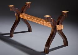 """A custom handmade table base, """"Deana's Curves,"""" created by Thomas Walsh"""