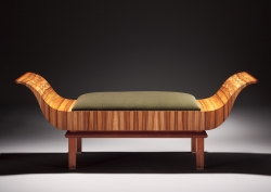 A custom handmade love seat settee created by Thomas Walsh